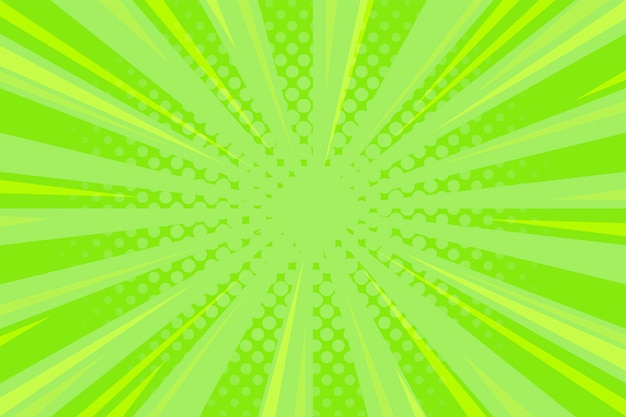 Groene komische achtergrond met zoomlijnen en halftoon Gratis Vector