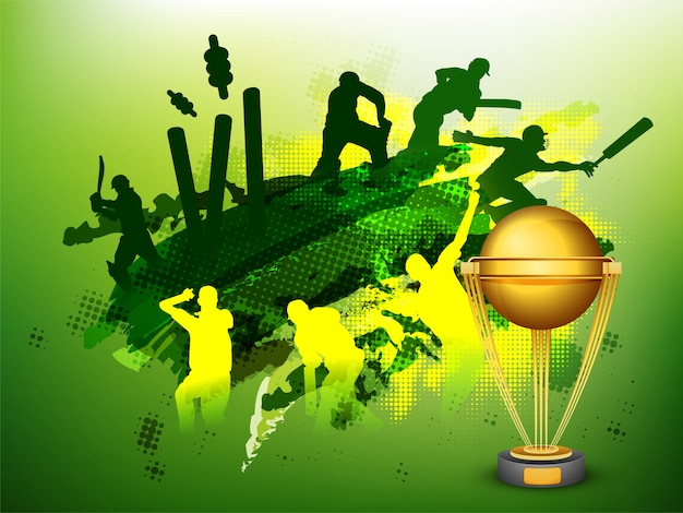 Groene krieket sport achtergrond met illustratie van spelers en gouden trofee kopje. Gratis Vector