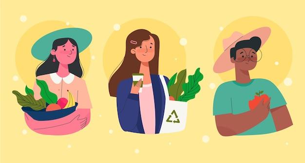 Groene levensstijl mensen Gratis Vector