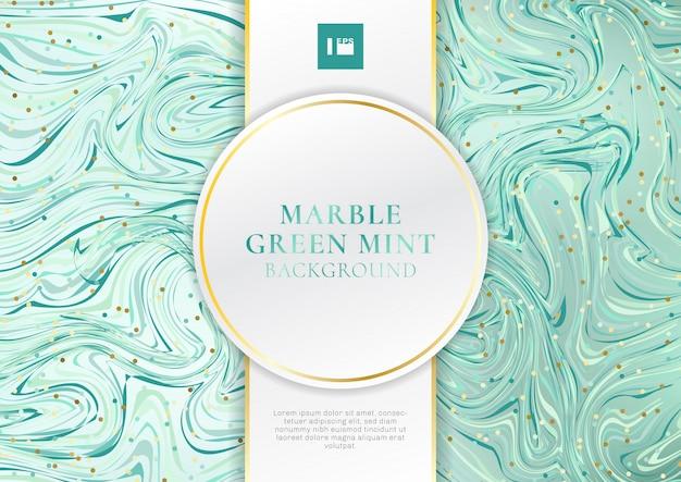 Groene mint marmeren achtergrond met label Premium Vector