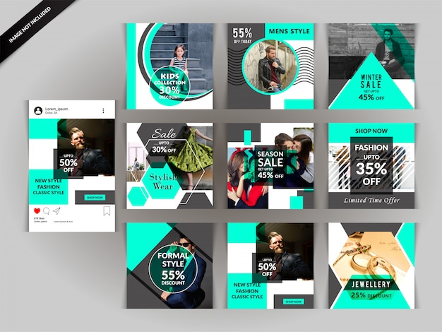 Groene mode sociale media postmalplaatje Premium Vector