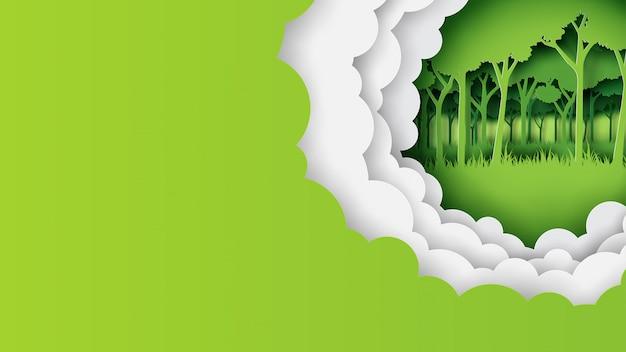 Groene natuur sjabloon banner papier kunststijl Premium Vector