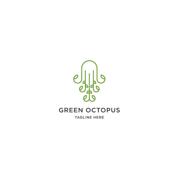 Groene octopus logo Premium Vector