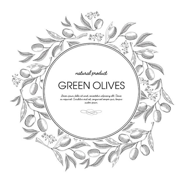 Groene olijven ronde krans schets compositie met prachtige bloemen en inscriptie Gratis Vector