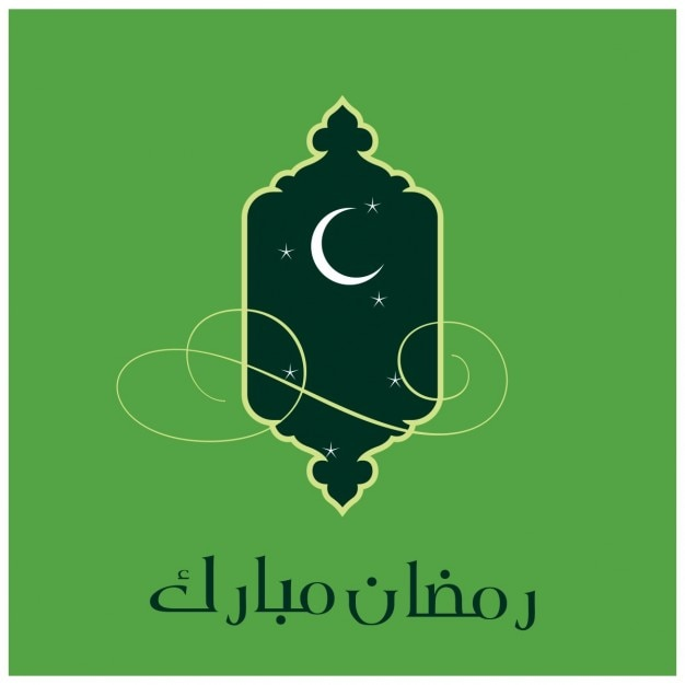 Groene ramadan islamitische achtergrond met een moskee venster Gratis Vector