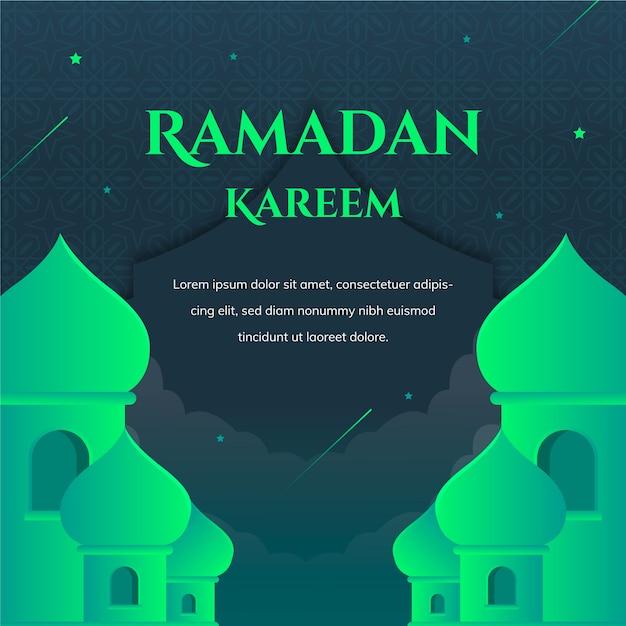 Groene ramadan kareem belettering met moskee Gratis Vector