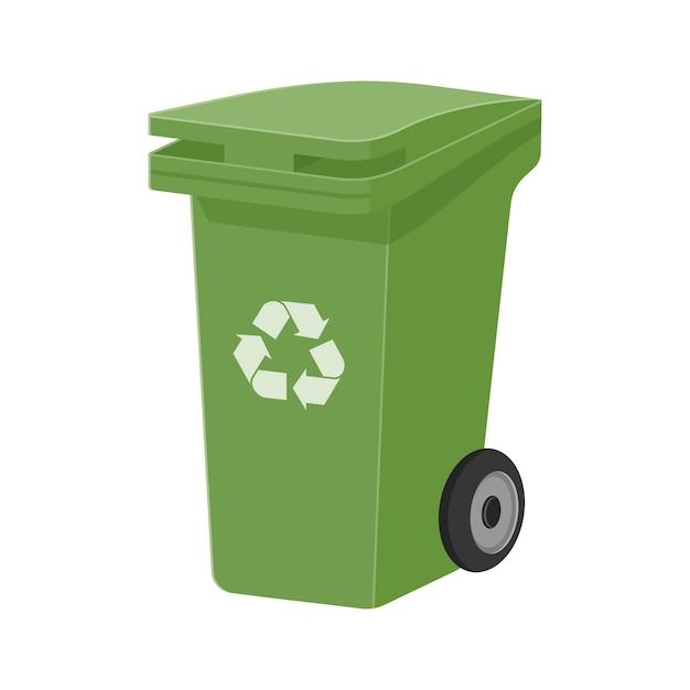 Groene recycle afvalbak platte vectorillustratie Premium Vector
