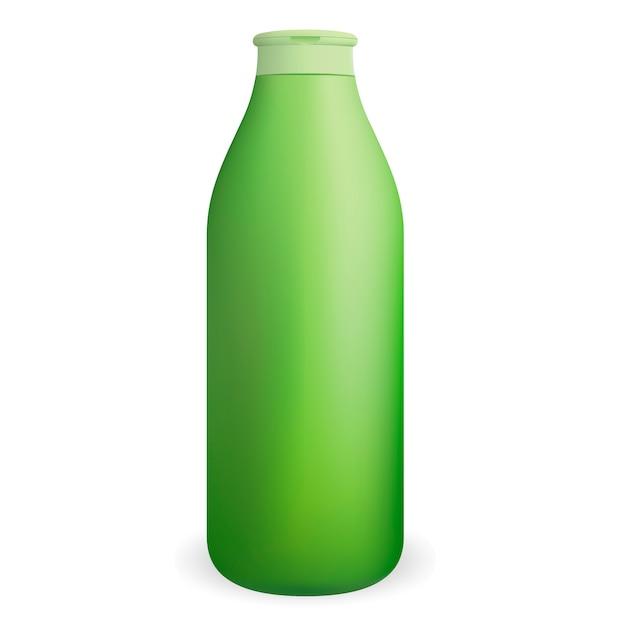 Groene ronde cosmetische shampoo of douchegel fles. Premium Vector