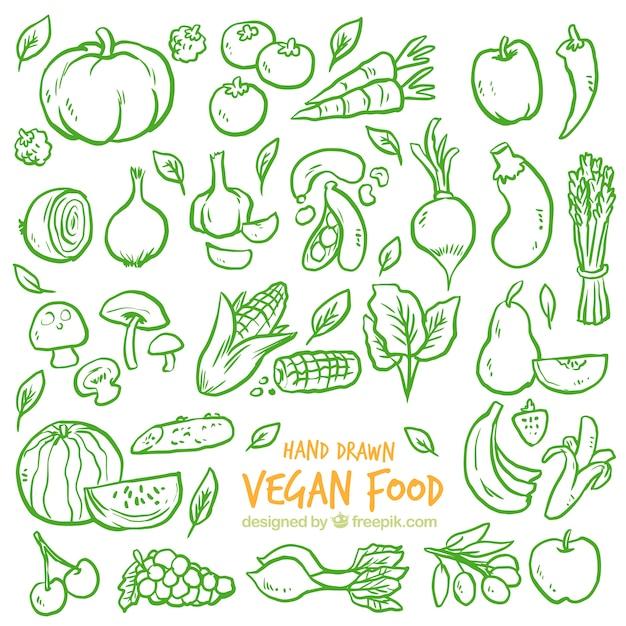 Groene schetsen groentenachtergrond Gratis Vector