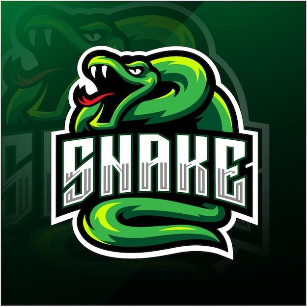 Groene slang esport mascotte logo Premium Vector