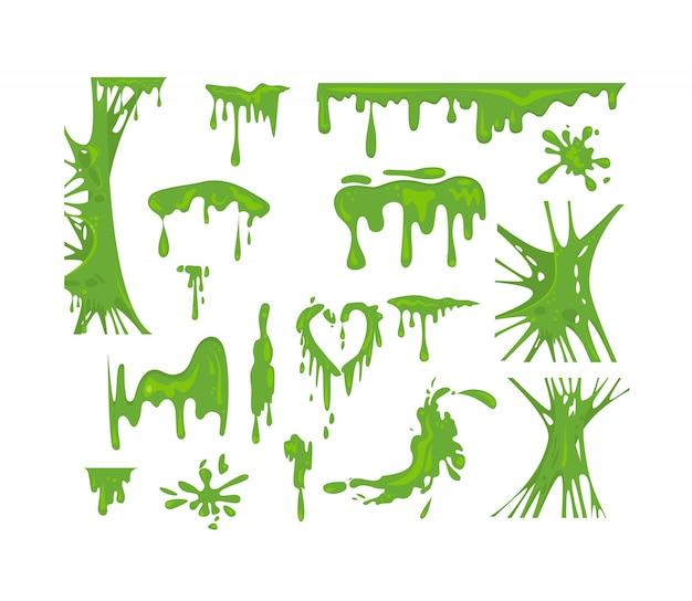 Groene slijm set Gratis Vector