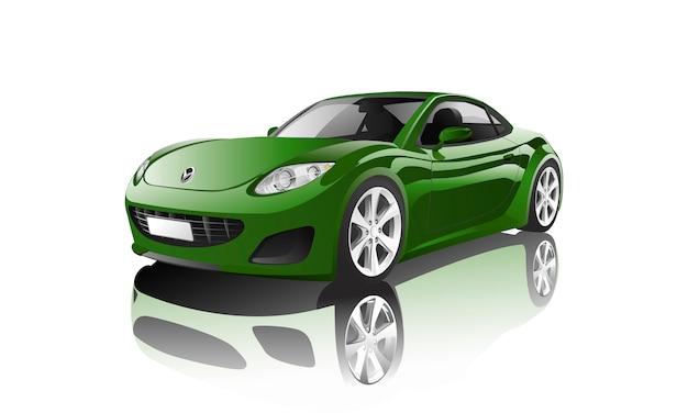 Groene sportwagen die op witte vector wordt geïsoleerd Gratis Vector