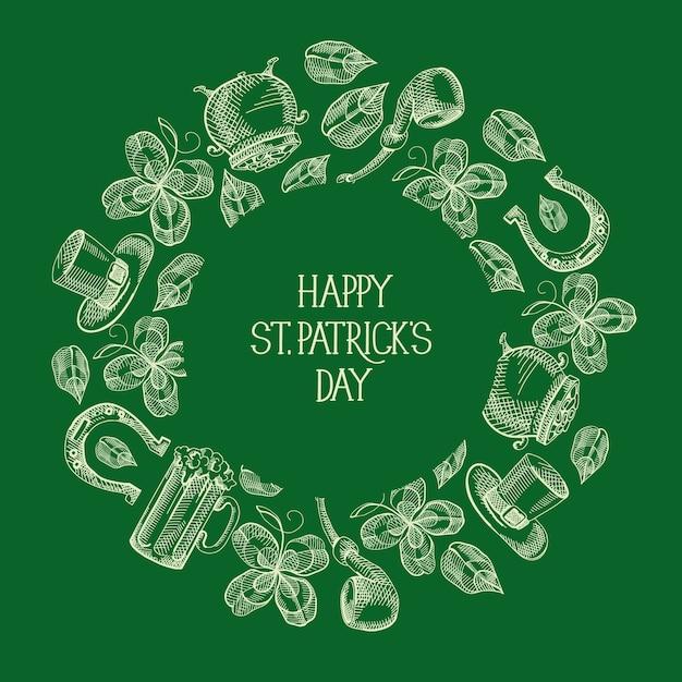 Groene st patricks day ronde wenskaart met inscriptie en hand getrokken traditionele symbolen en elementen vector illustratie Gratis Vector