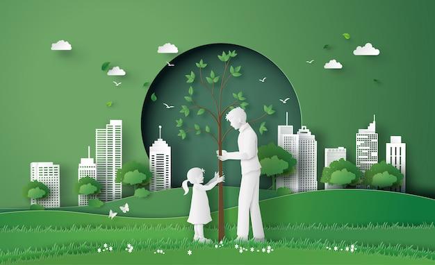 Groene stad met familie Premium Vector