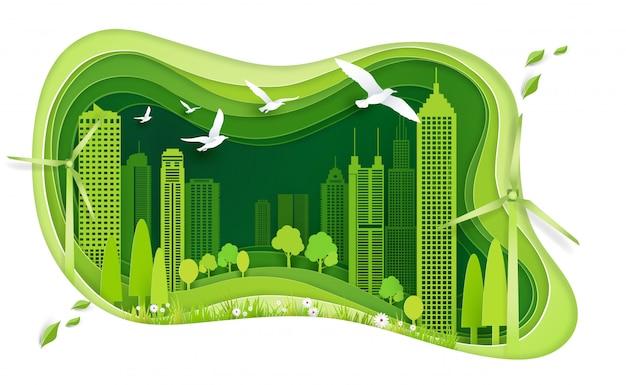 Groene stad met gebouw en ecologie idee Premium Vector