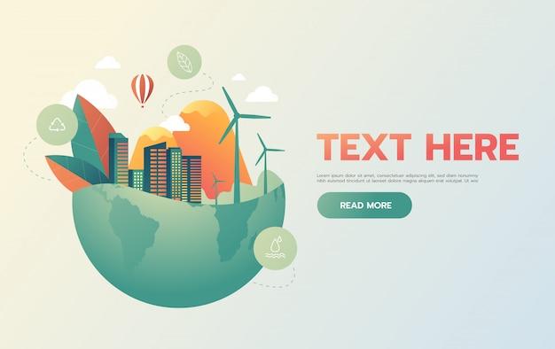 Groene stad met groen eco earth-concept, Premium Vector