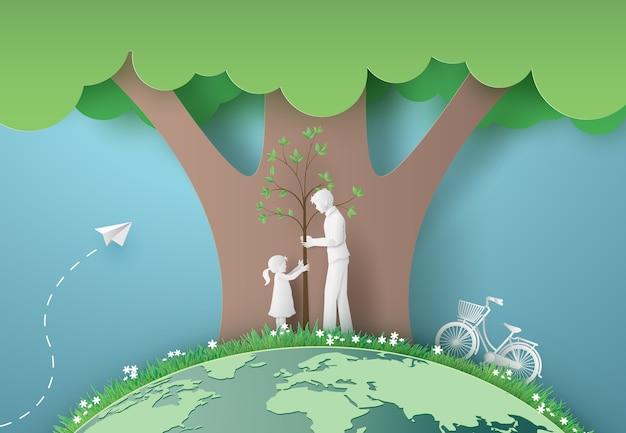 Groene stad met moeder en meisje. papier gesneden en digitale ambachtelijke stijl. Premium Vector