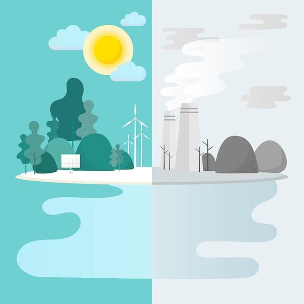 Groene stad milieubehoud vector Gratis Vector