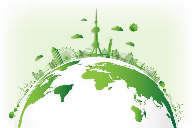 Groene stad red de wereld, Premium Vector