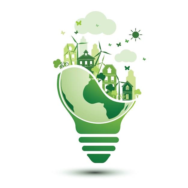 Groene stad Premium Vector