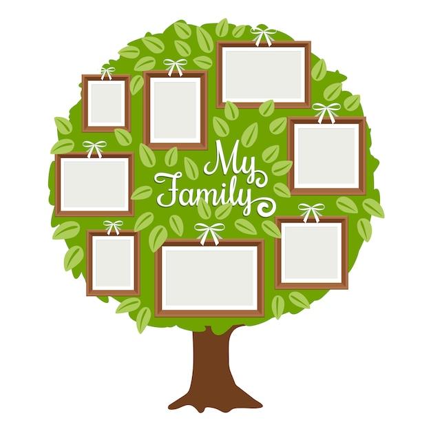 groene stamboom met frames premium vector