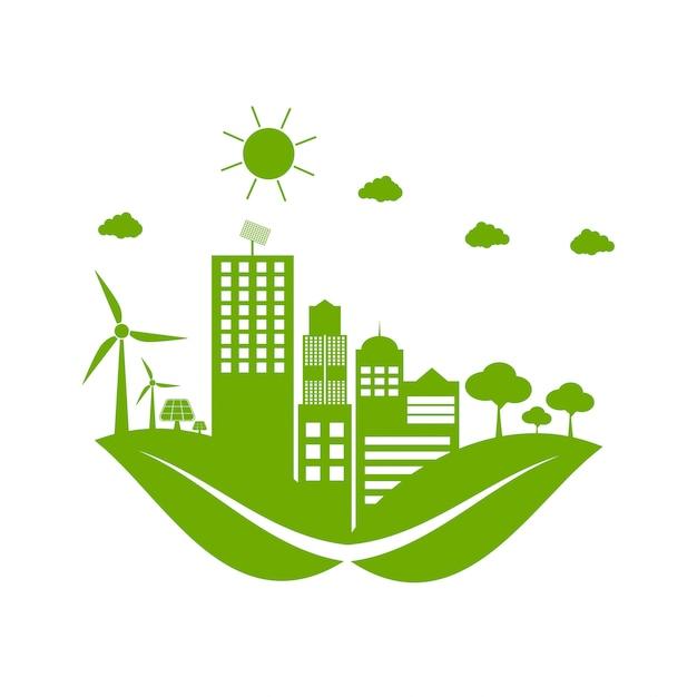 Groene steden helpen de wereld met milieuvriendelijke conceptideeën Premium Vector