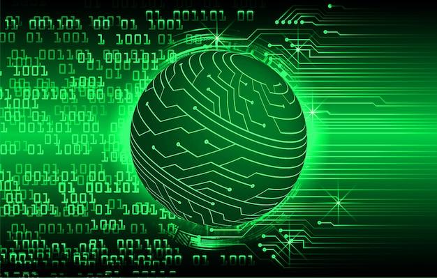 Groene toekomstige de technologieachtergrond van de wereld cyber kring Premium Vector