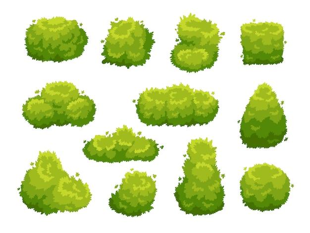 Groene tuin vegetatie struiken pictogramserie Premium Vector