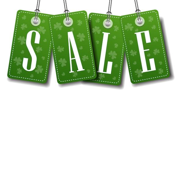 Groene verkoop tags grens over sjabloon achtergrond met kopie ruimte st. patricks day concept Premium Vector