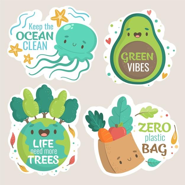 Groene vibes en nul plastic hand getrokken ecologie badges Gratis Vector