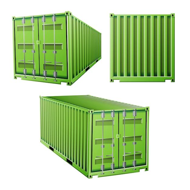 Groene vrachtcontainer Premium Vector