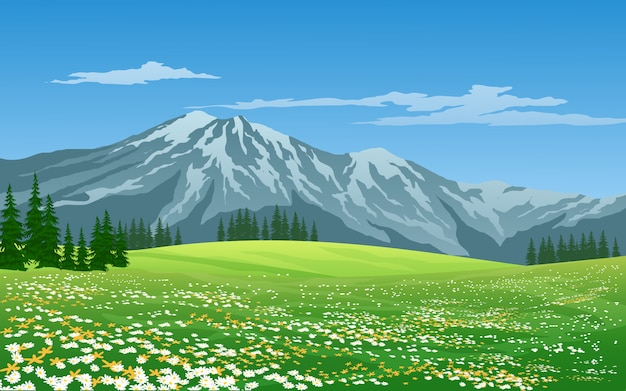 Groene weide en berg met blauwe hemel Premium Vector