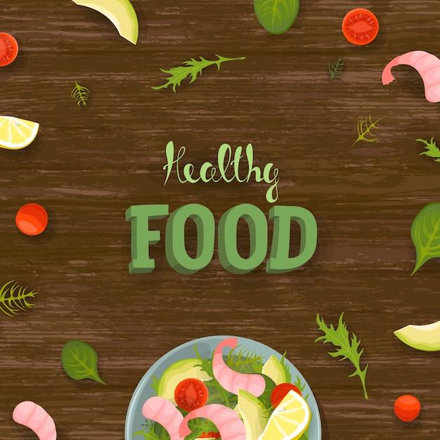 Groente en garnalen verse slakom bovenaanzicht. fitness rantsoen dieet vierkante sjabloon voor spandoek. tomaat, avocado, sla op houten tafel achtergrond. gezonde voeding belettering Premium Vector