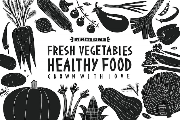 Groenten achtergrond. linosnede stijl. gezond eten. vector illustratie Premium Vector