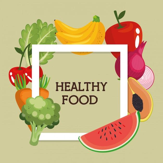 Groenten en fruit gezond voedsel Gratis Vector