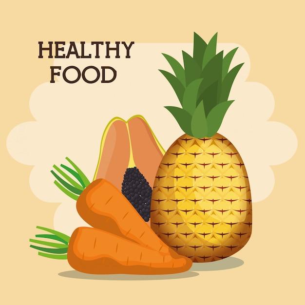 Groenten en fruit gezonde voeding Gratis Vector