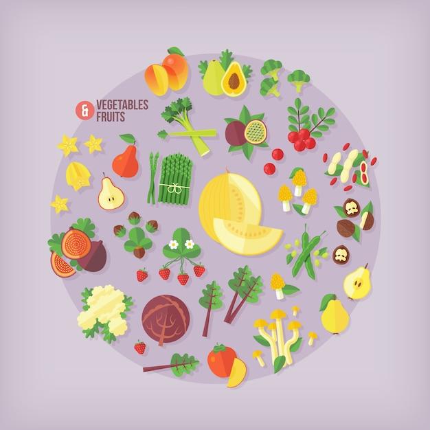 Groenten en fruit iconen collectie. moderne stijl. Premium Vector