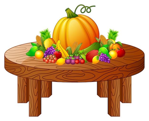 Groenten en fruit op ronde houten tafel vector premium download