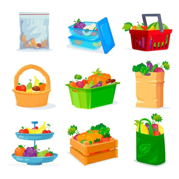 Groenten en fruit verschillende opslag Premium Vector
