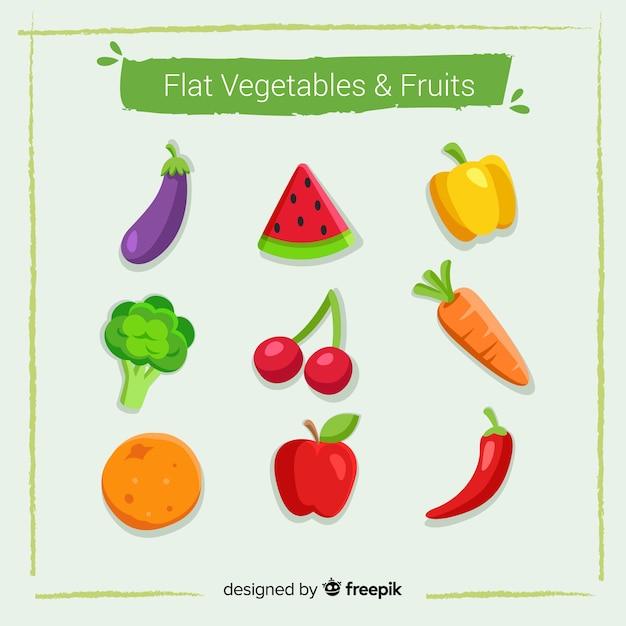 Groenten en fruit verzamelen Gratis Vector