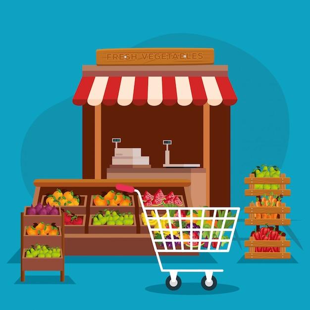 Groenten en fruit winkel illustratie, winkel markt winkelen handel detailhandel kopen en betalen Premium Vector