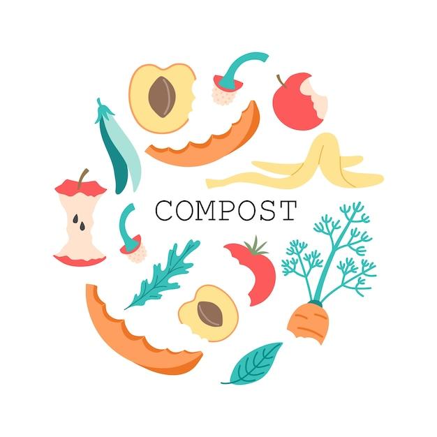 Groenten- en fruitcompost, appelkern van organisch afval, tomaat, paprika, bananenschil, wortel en blad in een platte cartoonstijl. Premium Vector