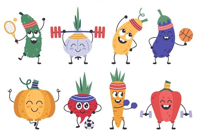 Groenten fitness. grappige doodle groenten in oefeningen en meditatie poses, gezonde sport plantaardige mascottes iconen set. plantaardige komkommer en knoflook, pompoen en wortel illustratie Premium Vector