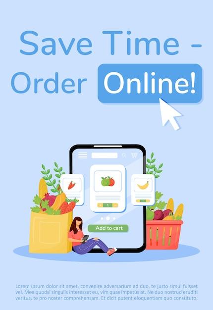 Groentewinkel bestellen poster platte sjabloon. groenten en fruit levering brochure, boekje één pagina conceptontwerp met stripfiguren. flyer, folder voor online mobiele app-service voor eten Premium Vector