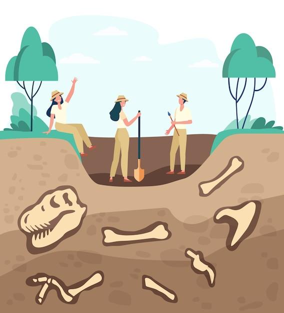 Groep archeologen die fossielen ontdekken, grond graven met dinosaurusbeenderen. vectorillustratie voor archeologie, paleontologie, wetenschap, expeditieconcept Gratis Vector