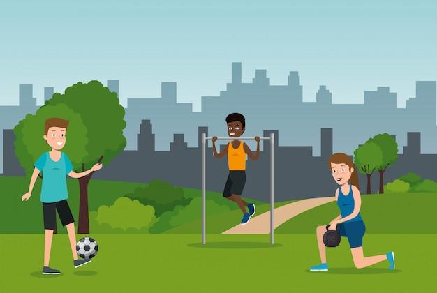 Groep atleten die sporten op het park uitoefenen Gratis Vector