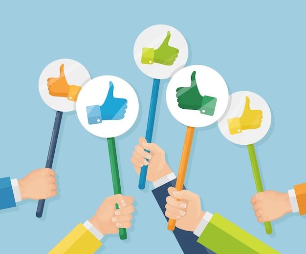 Groep bedrijfsmensen met omhoog duimen. sociale media. goede mening. getuigenissen, feedback, klantbeoordelingsconcept. Premium Vector