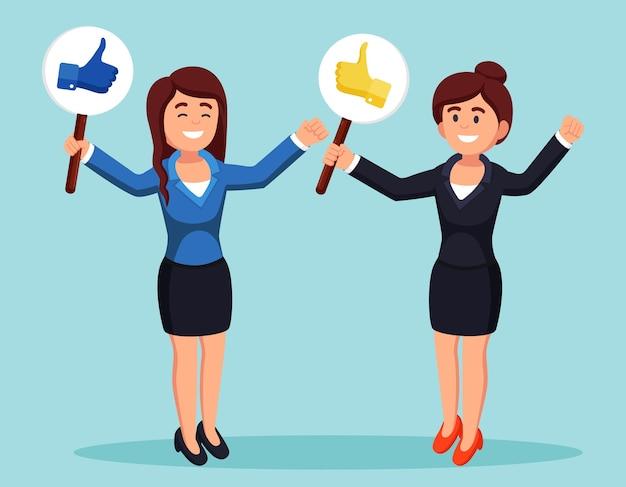 Groep bedrijfsvrouw met omhoog duimen. sociale media. goede mening. getuigenissen, feedback, klantbeoordelingsconcept. Premium Vector