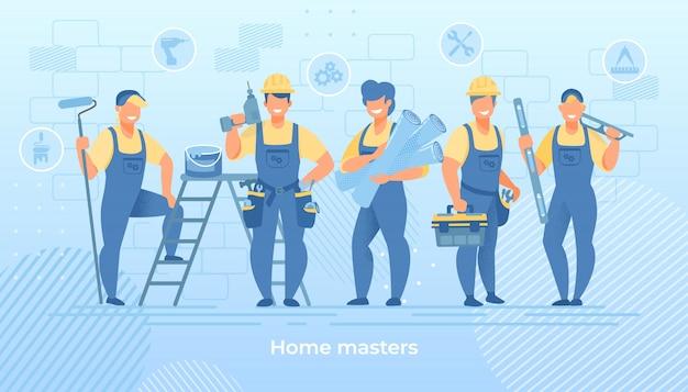 Groep bouw ingenieurs in gewaad met gereedschap Premium Vector