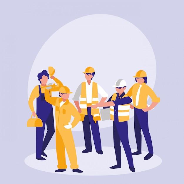 Groep bouwers avatar karakter Premium Vector